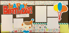 Happy Birthday to you! (blue) - 12x12 Scrapbook Page Kit