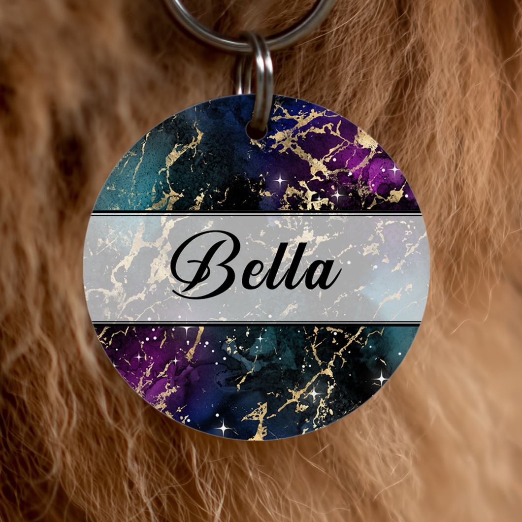Beautiful-dog-tag-in-galaxy-design-featuring-greens-blues-blacks-purples-and-golds-featuring-dogs-name-bella-and-personalisable-with-your-dogs-name