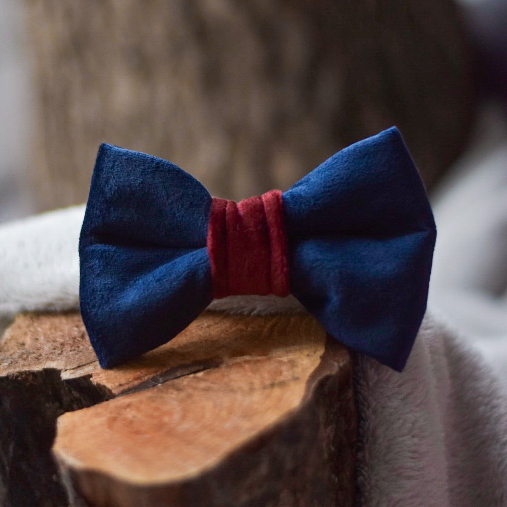 Indigo in the Country - Navy Blue & Burgundy Velvet Bow Tie