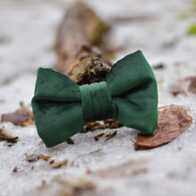 Load image into Gallery viewer, Into The Woods - Forest Green Velvet Bow Tie