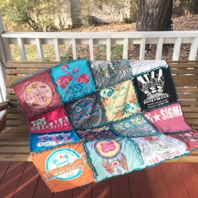 Rag T-shirt quilt on bench