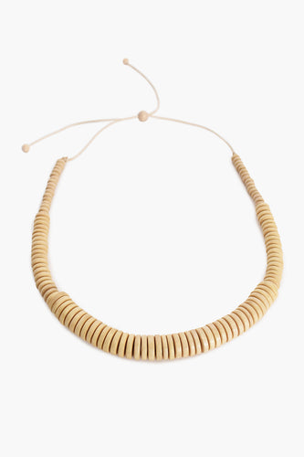 Timber Button Bead Long Necklace - Natural