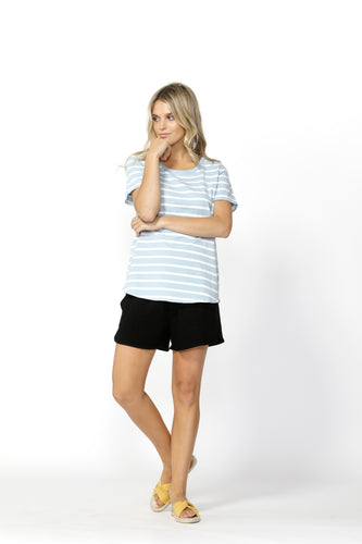 Demi Scoop Tee | Sky / White Stripe
