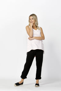 Zoe Tank | White/Blush Stripe