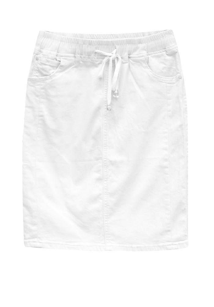 COUNTRY DENIM ELASTIC WAIST SKIRT WHITE