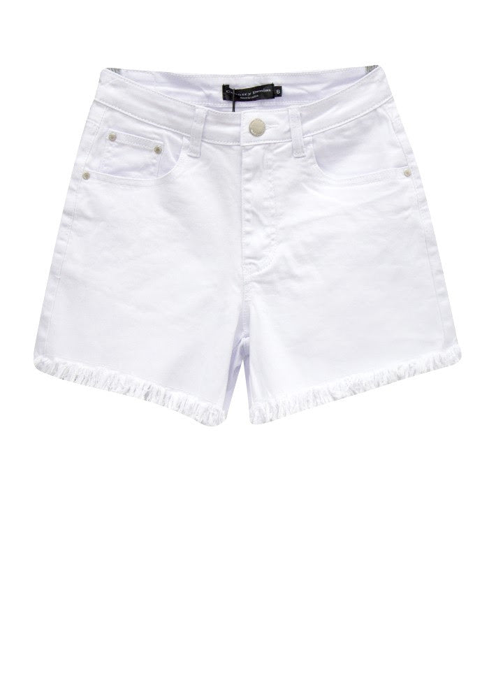 Frayed Denim Shorts | White