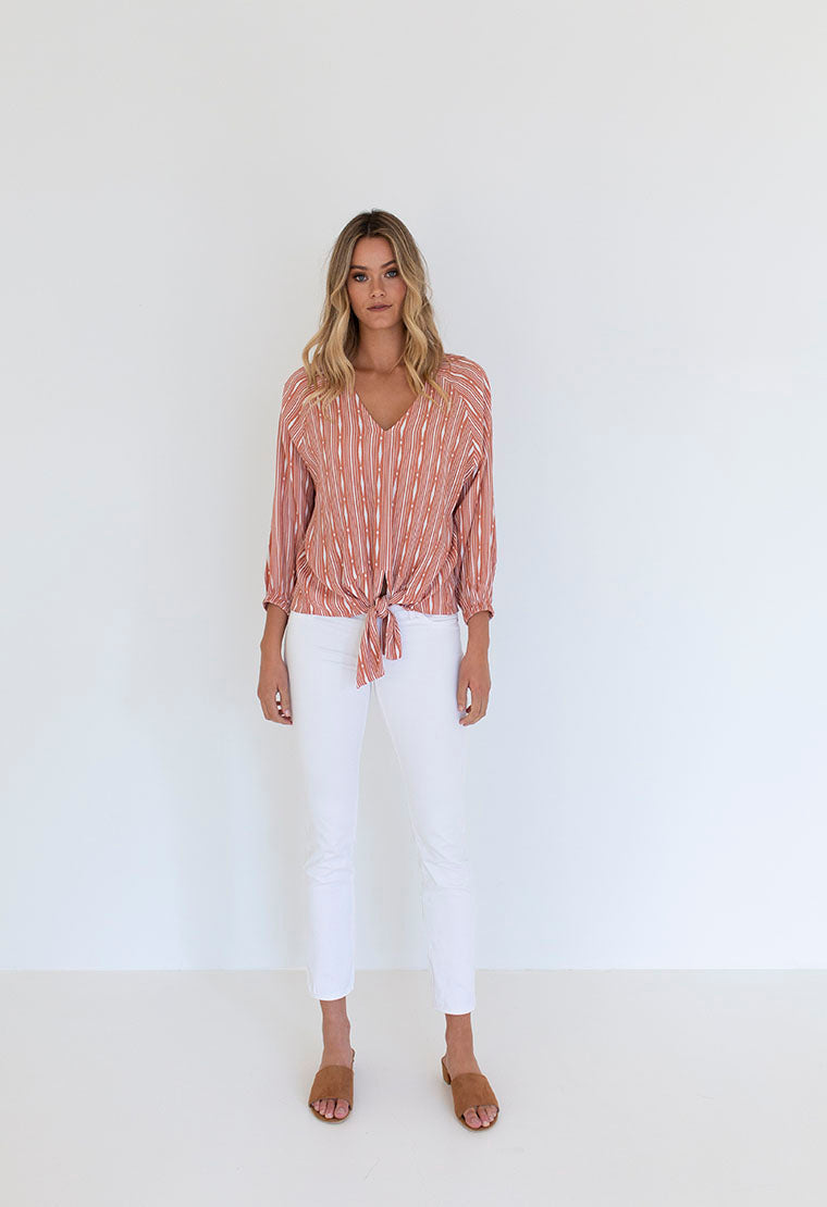 Humidity Lifestyle Stripe Tie Top | Rust