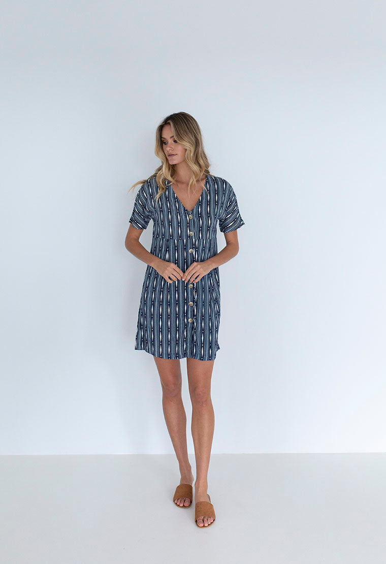 Humidity Lifestyle Stripe Sofia Dress | Navy