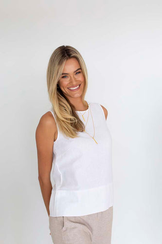 Humidity Lifestyle Lana Top - Natural, Linen top, The Corner Store Yamba