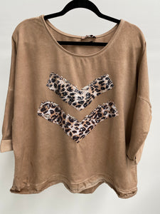Amici made in Italy On Point Sweater - Sand Leopard - The Corner Store Yamba