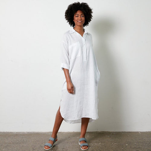 MONTAIGNE PARIS Biarritz linen shirt dress | White THE CORNER STORE YAMBA