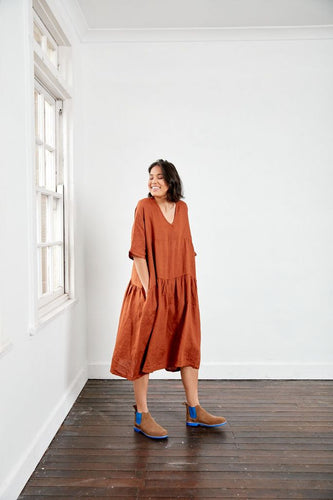 Montaigne Paris Italian Linen Layered Linen Dress