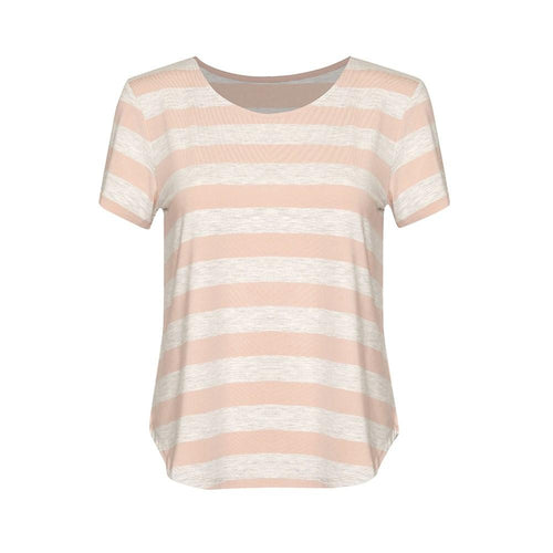 The Janis Tee | Grey Marle/Blush Striped
