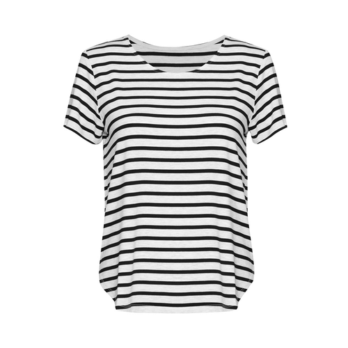 The Janis Tee Striped | Grey Marl/Black