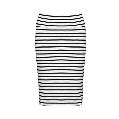 The Midi Whitney Tube Stripe Skirt | Grey Marl/Black
