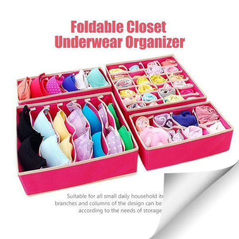 Foldable Closet Organizer 4 Pieces/Set TopViralPick Red