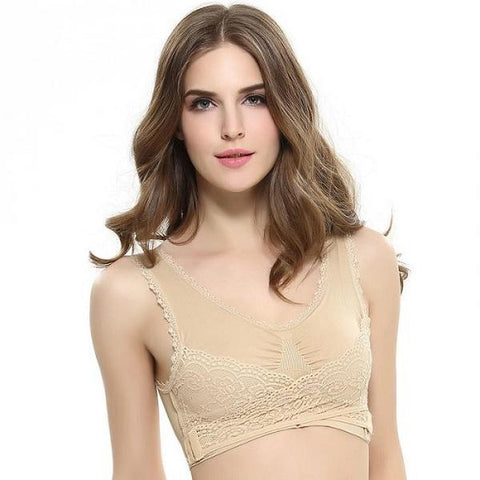 Image of Pure Comfort Front Cross Side Buckle Wireless Lace Bra TopViralPick