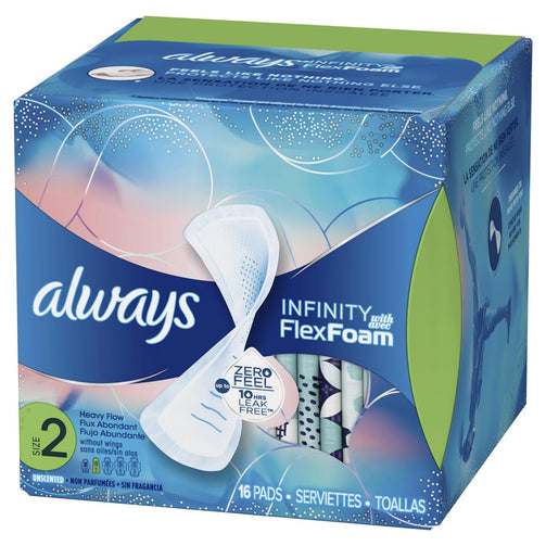 Always Infinity Size 2 Super Pads Non-Wings, Unscented - Our Ladies