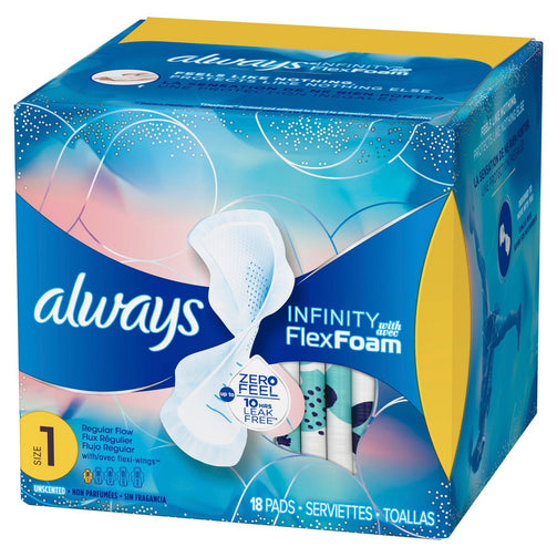 Always Infinity Size 1 Regular Pads with Wings, Unscented - Our Ladies