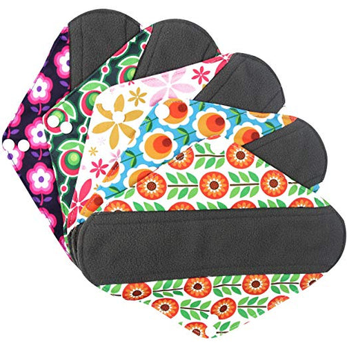 Wegreeco Bamboo Reusable Sanitary Pads - Cloth Sanitary Pads - Pack of 5 (Small, Flower) - Our Ladies