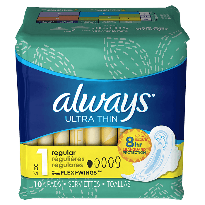 Always Ultra Thin Size 1 Regular Pads With Wings, Unscented