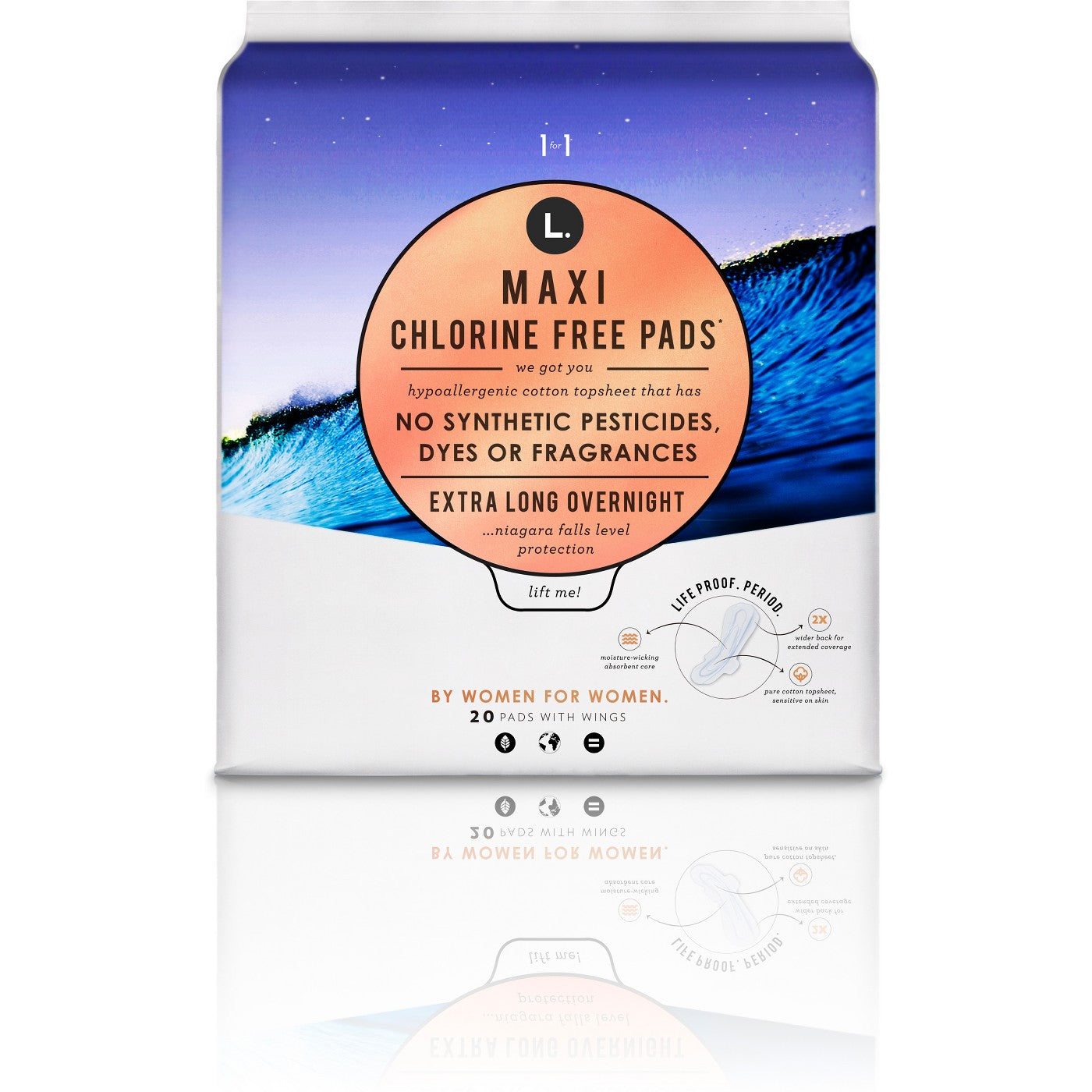 L Organic Pads >> L Organic Maxi Chlorine Free Extra Long Overnight Pads With Wings 20ct