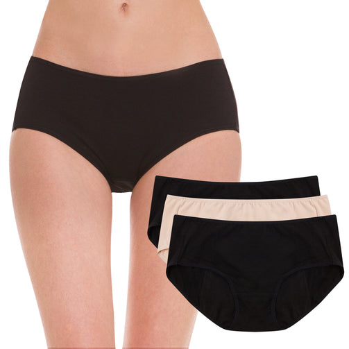 HESTA Organic Cotton Period Leak Proof Sanitary Protective Panties 3 (2 black+1 nude) - Our Ladies
