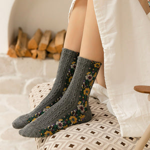 Retro Flower Crew Socks
