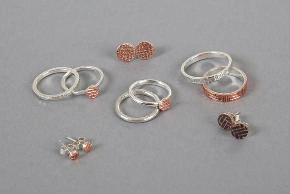 silver and copper jewellery rings earrings studs