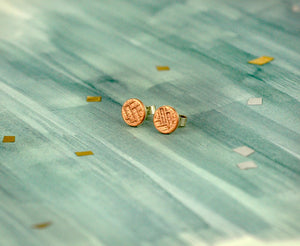 Statement Circle Sterling Silver Stud Earrings with Woven Copper Texture