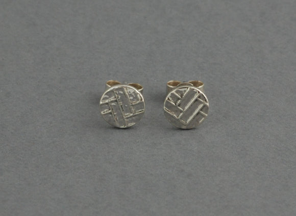 Statement Sterling Silver Stud Earrings with Woven Texture