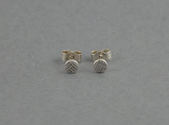 Tiny Sterling Silver Stud Earrings with Woven Texture