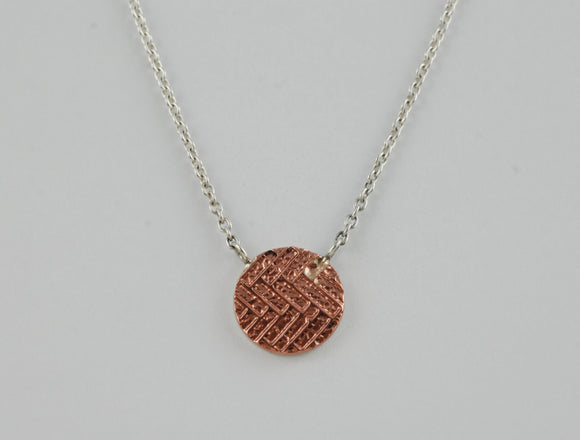 Statement Sterling Silver Necklace with Copper Textured Circle