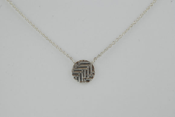 Statement Sterling Silver Circle Necklace with Woven Texture