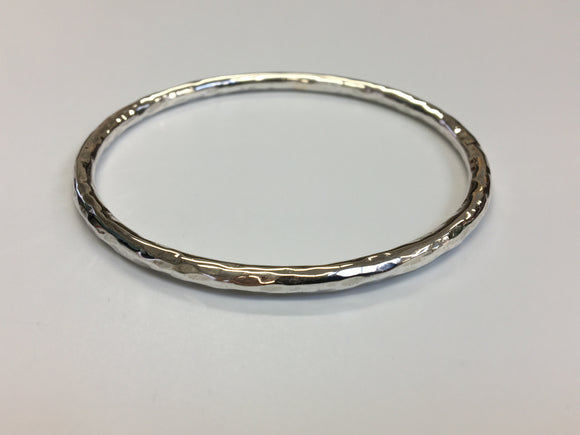Solid Hammer textured Sterling silver Bangle