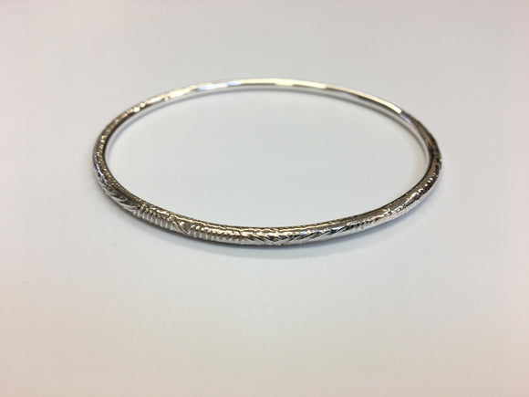 Geometric textured thin Sterling silver Bangle