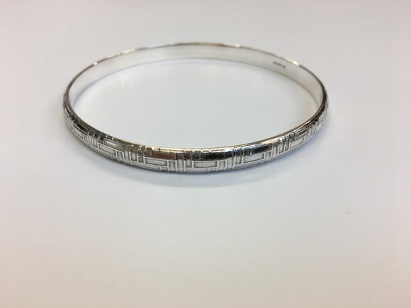 Woven textured D-shaped Sterling Silver Bangle