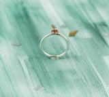 Tiny Sterling Silver Circle Ring with Woven Copper Texture
