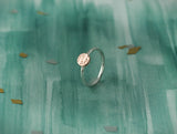 Sterling Silver Ring with Copper Textured circle and Thin Elegant Band