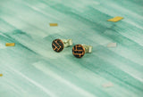 Sterling Silver Circle studs with Woven Copper Textures