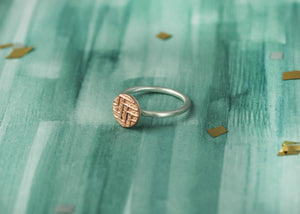 Statement Sterling Silver Ring with Copper textured circle