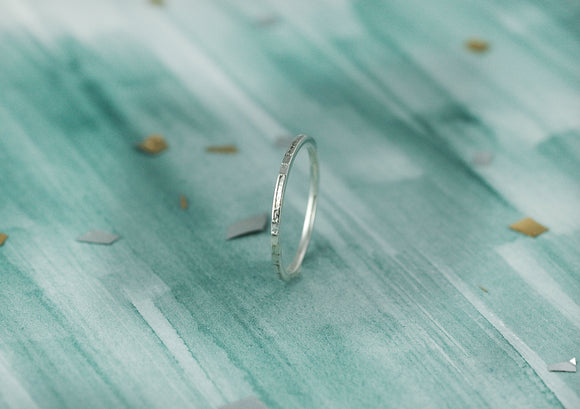 Tiny textured Sterling Silver Ring