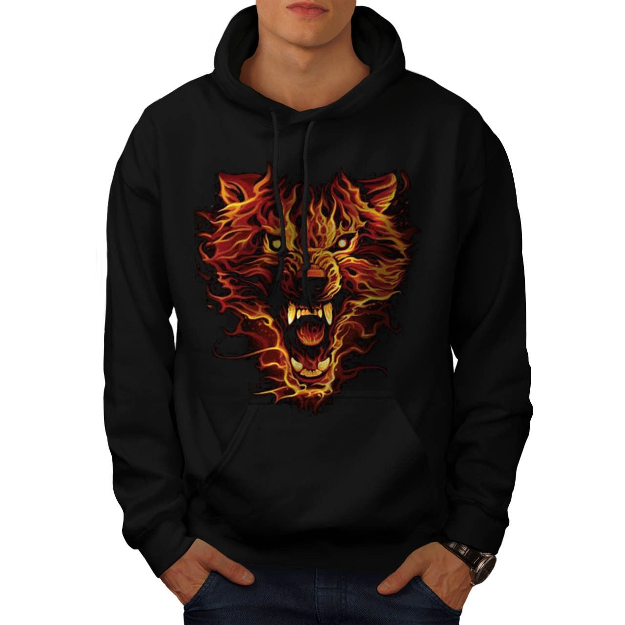 Mens Cool Flaming Wolf Fire Lion Animal Mens Hoodie Long-Sleeved Sweatshirt Hoodies