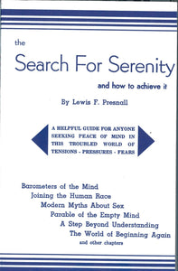 Search for Serenity- and how to achieve it.