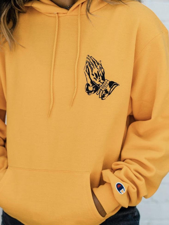PRAY FOR YOUR ENEMIES | CHAMPION HOODIE | GOLD