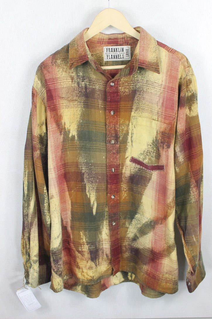 Vintage Rust, Yellow, and Red Flannel Size Large