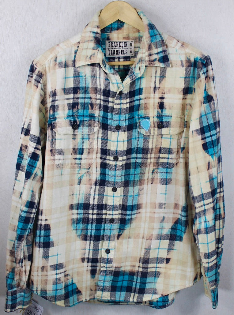Vintage Turquoise, Cream and Navy Blue Flannel Size Medium