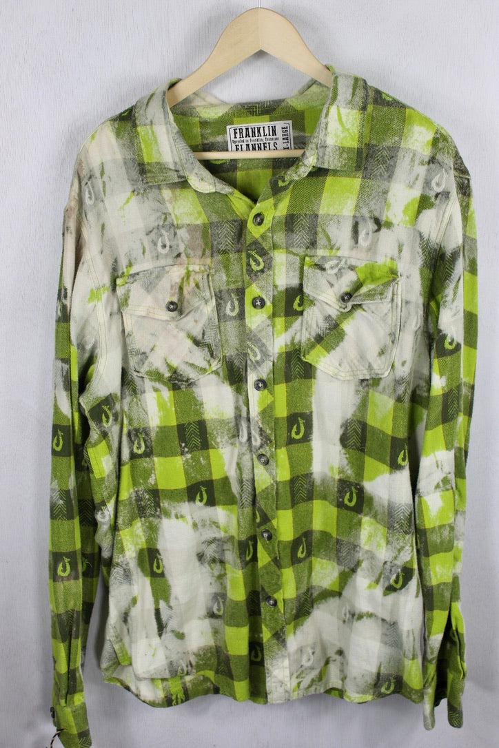 Vintage Lime Green and Grey Flannel Size XL