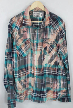 Vintage Turquoise, Grey and Peach Flannel Size Large