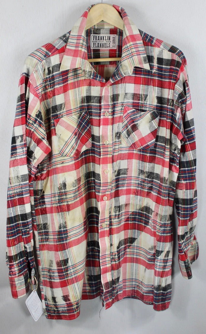Vintage Cherry Red, Black, Blue and White Flannel Size XL